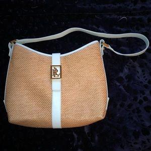 Lauren Ralph Lauren - powder blue and straw purse